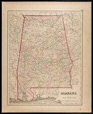 Carte ancienne [1857,Colton] : État américain d'Alabama. Antique Map, USA