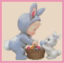 Bebé Dressed As Conejo de Pascua Punto de Cruz Kit Completo N.º 42-113