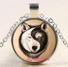 Yin Yang Wolf Cabochon Tibetan silver Glass Chain Pendant Necklace #3847