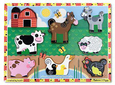 Melissa & Doug Wooden Farm Animal Chunky Puzzle - 8 Pieces