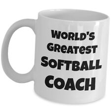 Worlds Greatest Softball Coach Coffee Mug Team Sports Trainer Gift Ceramic Cup