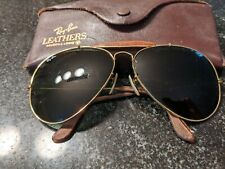 Vintage Ray-Ban Aviators Sunglasses Bausch & Lomb  Leather Trim w/ Gold & Case