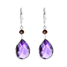 14K White Gold Gemstone Earrings with Pear Shape Amethyst and Round Garnet