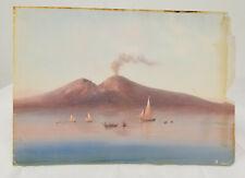 Antico ITALIANO NAPOLETANO Napoli a guazzo DAL VESUVIO firmato CORELLI carta