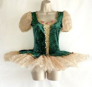 Womens Adult Green Lace Tutu MA LA Dance Costume Ballet Platter Short Wolff NEW