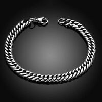 Fashion Silver Men Stainless Steel Chain Link Bracelet Wristband Bangle Jewelry