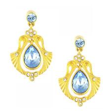 Cristalina 18k Matt Gold Plated Art Nouveau Gingko Leaf & Aqua Crystal Earrings