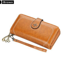 Baellerry Four-leaf Clover Multi-function PU Leather Purse Card Holder Brown