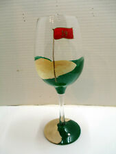 """Lolita """"19th Hole"""" Hand Painted Golf Theme Wine Glass Goblet w/ Recipe - Signed"""