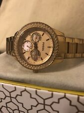Fossil Day-Date Rose Gold Wrist Watch for Women