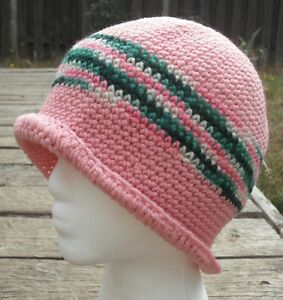 Fabulous Pink with Green Stripe Cotton Crocheted Cloche - Handmade by Michaela