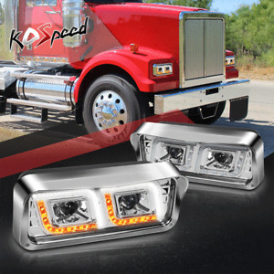 DUAL PROJECTOR LED DRL SIGNAL Headlight Lamp for 81-19 Western Star Freightliner