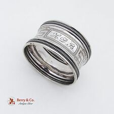 French Greek Key Napkin Ring Sterling Silver 1890