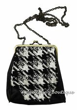 MONSOON ACCESSORIZE BLACK & WHITE HOUNDSTOOTH DOG TOOTH CHECK CLASP BAG NEW £22