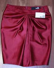 LOVE MOSCHINO Burgundy SATEEN Skirt LINED Gathered DRAPED Tulip Shaped 2 $295