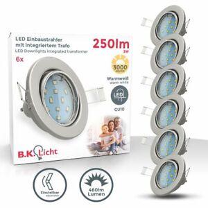 6er SET LED Einbaustrahler Einbauleuchten schwenkbar GU10 5W Decken-Spots 230V