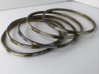 5 Vintage Boho Bone Shell Inlaid Brass Bangle Bracelets Blue Retro Stacking