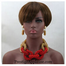 Red & Gold Crystal African Nigerian Beads Set Necklace Earring Bracelet Set