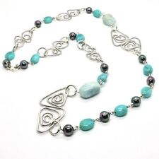 NECKLACE THE ALUMINIUM LONG 86 CM WITH AGATE AQUAMARINE PEARLS SYNTHETIC
