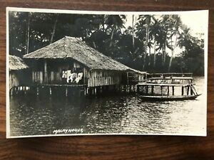 SINGAPORE MALAY OLD POSTCARD MALAY HOUSE RIVER SINGAPORE TO GERMANY 1933 !!