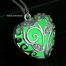 Xmas Gifts For Her - Emerald Green Glow Heart Necklaces Keepsake Wife Love Women