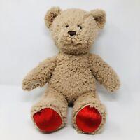 BAB Build A Bear Teddy Tan Red Curly Fur Stuffed Animal Toy