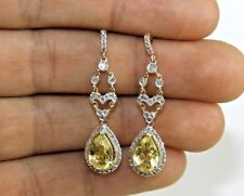 Long Pear Yellow Topaz & Diamond Drop Dangle Earrings 14K Yellow Gold 2.96Ct