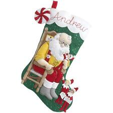 Elf On The Shelf Santa & Scout Stocking Felt Applique Kit - New