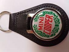 MINI COOPER - Rond Porte-clés en cuir avec autocollant Dôme choix de couleurs