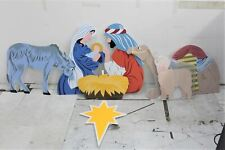 More details for outdoor nativity store 8-piece full colour mary joseph donkey nativity set new