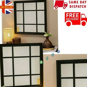 61×61CM BLACK ENCHANTED WINDOW STYLE WALL MIRROR SQUARE SOHO MIRROR 🇬🇧 N1
