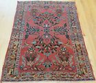 """GENUINE ANTIQUE 1900s FLORAL GEOMETRIC HAND KNOTTED WOOL ORIENTAL RUG 3'5"""" x 5'"""