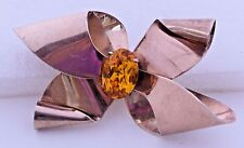 Gold Plate Bow Pin Vintage Brooch Yellow Faceted Glass Jordan Sterling Silver