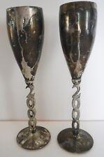 Godinger Silver Art Silver Plated Millenium 2000 Champagne Flute Goblet Set of 2
