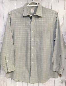 Brooks Brothers Mens Blue Grey Striped Button Down Dress Shirt Mens Sz 17- 4/5