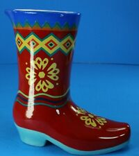 Ceramic Cowboy Boot Hand Painted Planter Vase Southwestern Collectible