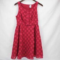 Disney Lauren Conrad Collection Dress Burgundy Sleeveless Buttons Ruffle Size 4