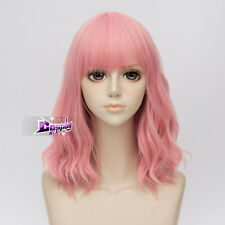 45CM Pink Short Curly Hair Lolita Women Anime Party Cosplay Wig + Wig Cap