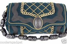 SUPER GORGEOUS !!! YSL Yves Saint Laurent Sac Luxembourg CHAIN CLUTCH/HAND BAG