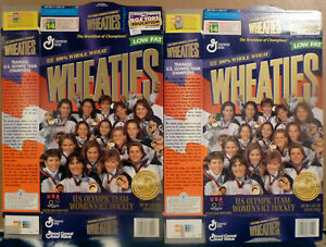 1998 Wheaties, Women's Ice Hockey Gold Medalist Boxes, Lot of 2 Flat Boxes, FS
