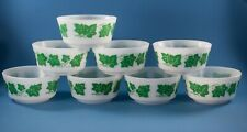 Hazel Atlas Cottage Cheese Cereal Bowls Green Ivy Lot of 8 #0-3422