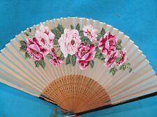 Hand Painted Roses Hand Fan Made In Japan