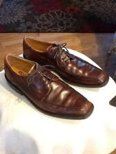 ECCO Mens 42 8 8.5 Brown Leather Apron Toe Oxfords Dress Shoes