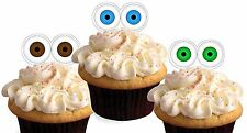 FUNNY EYES SHOCKED  X24 edible stand up cup cake toppers wafer paper *precut*
