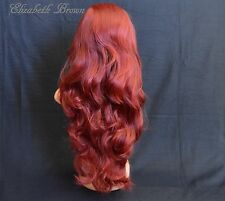 Burgundy Red Mix  Glueless Long Curly Invisible Lace Front Wig 900