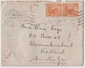 Stamps Malaya 4c orange Tiger pair HILDERNE IPOH F.M.S cover 1933 to Australia