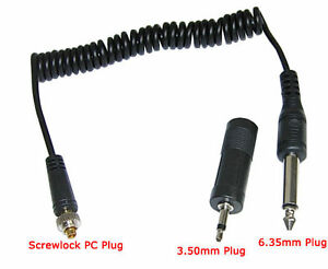 Yongnuo RF-603 Screwlock PC Sync Cable 6.35mm + 3.5mm Adapter For Studio Strobe