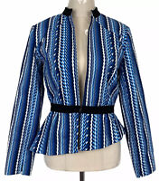 Oxford Woman Blue Striped Long Sleeve Lined Corporate Jacket Size 8