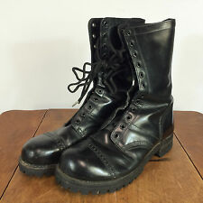 Vintage Black Leather Vibram Military Combat Boots Shoes Amry Navy Motorcycle 8