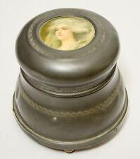 Vintage Vanity Powder Music Box Woman's Portait Top Lid Dented Runs